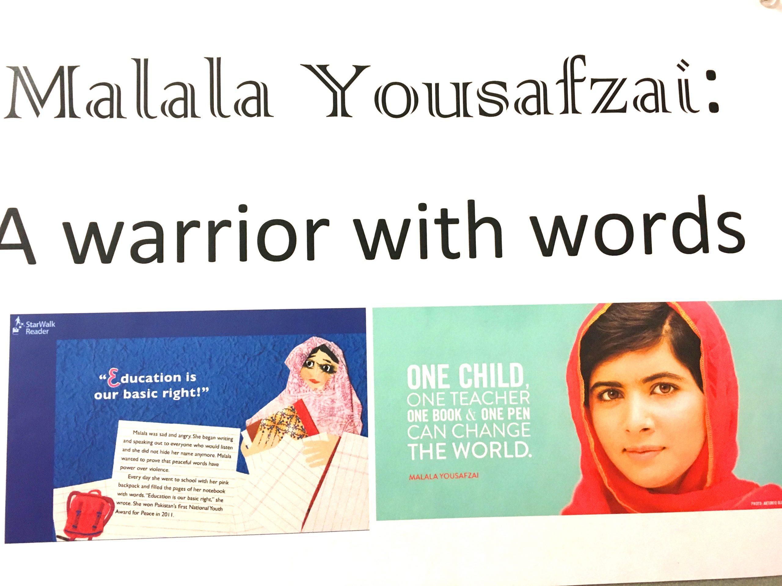 Collage mit Malala Yousafzai, der pakististanischen Friedennobelpreisträgerin